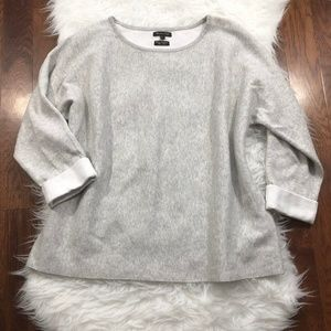 Massimo Dutti Grey Cotton Cashmere Blend Sweater